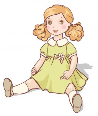 cartoon doll in a green dress
