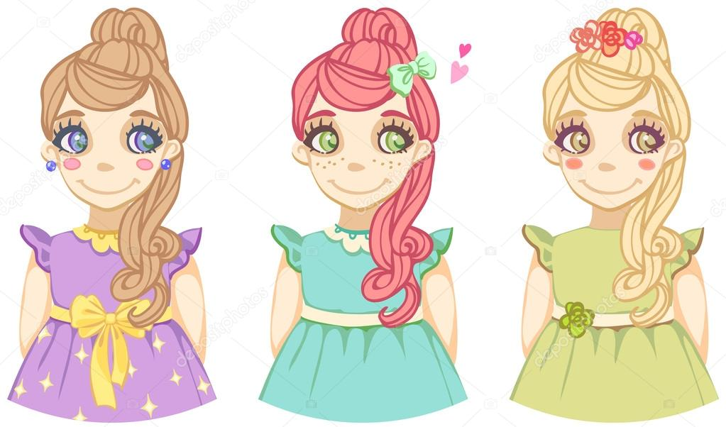 Fotos: tres | tres dibujos animados cute color niñas — Vector de ...