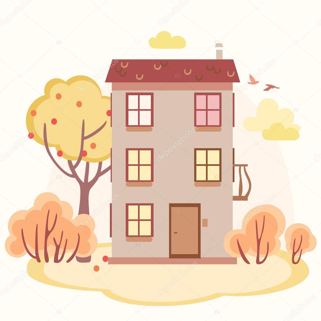 autumn cartoon story house with trees