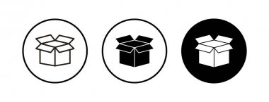 Open box icons set. Cardboard box, packaging open. Box icon vector icon