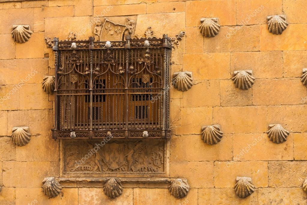 Beautiful Window With Forge Of The House Of Shells In Salamanca U2014 Stock  Photo