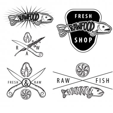 Set of raw food salmon vintage badges