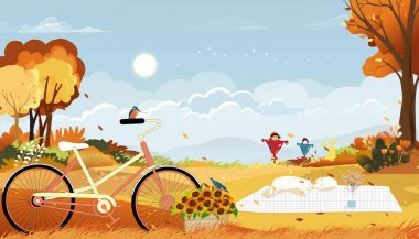 Autumn landscape wonderland forest ,Mid autumn natural in orange foliage with Kingfisher bird standing on bicycle and cat sleeping,Cute cartoon smiling scarecrow standing on farm fields in fall season
