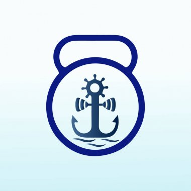 Marine with fitness dumbbell icon vector logo design. icon