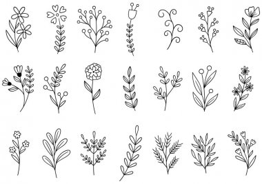0288 hand drawn flowers doodle icon