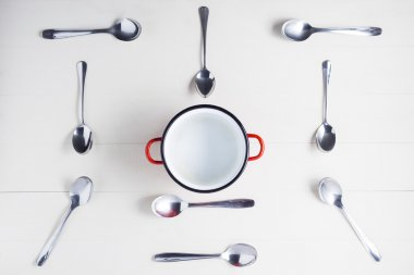 Top view of empty pot with spoons on symmetry