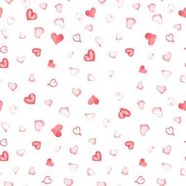 Watercolor hearts seamless pattern clip art vector