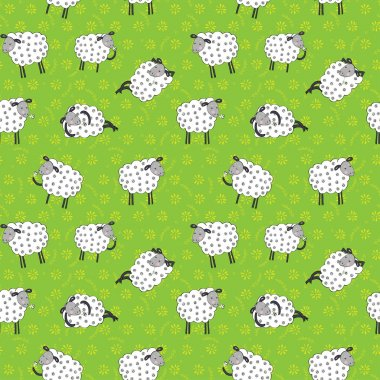 pattern with cartoon sheep