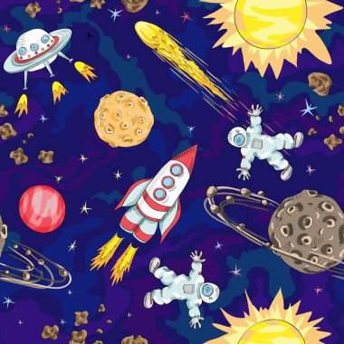 Hand drawn space seamless pattern