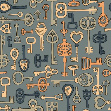 vintage keys seamless pattern