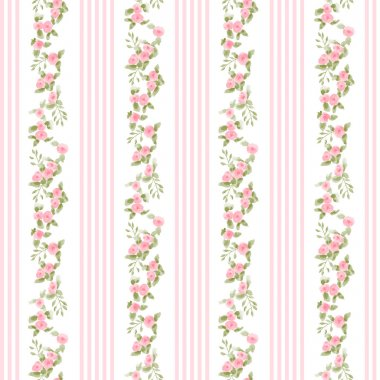 English floral pattern with stripes