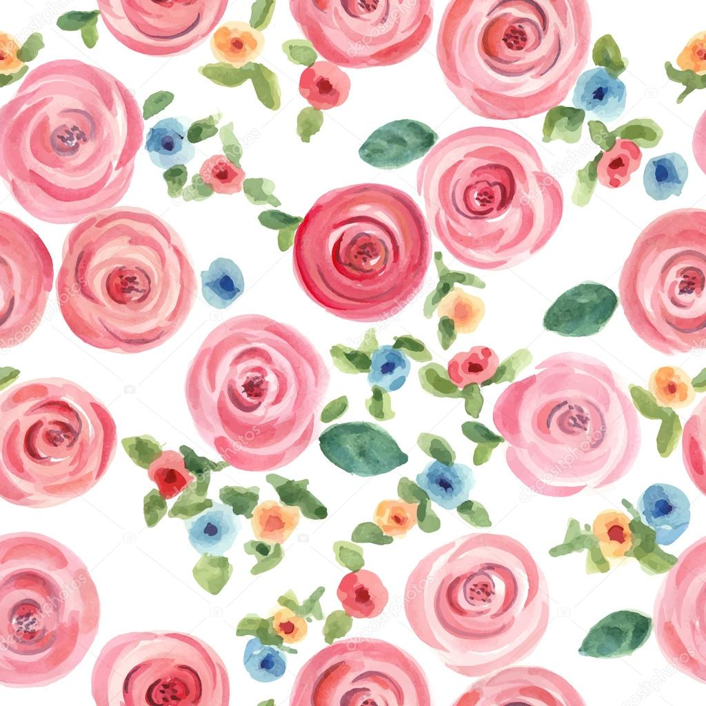 Watercolor roses and cute little flowers