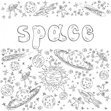space with planets, rockets, spasemen and stars
