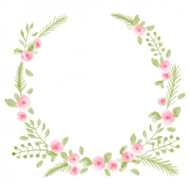 Watercolor floral round frame