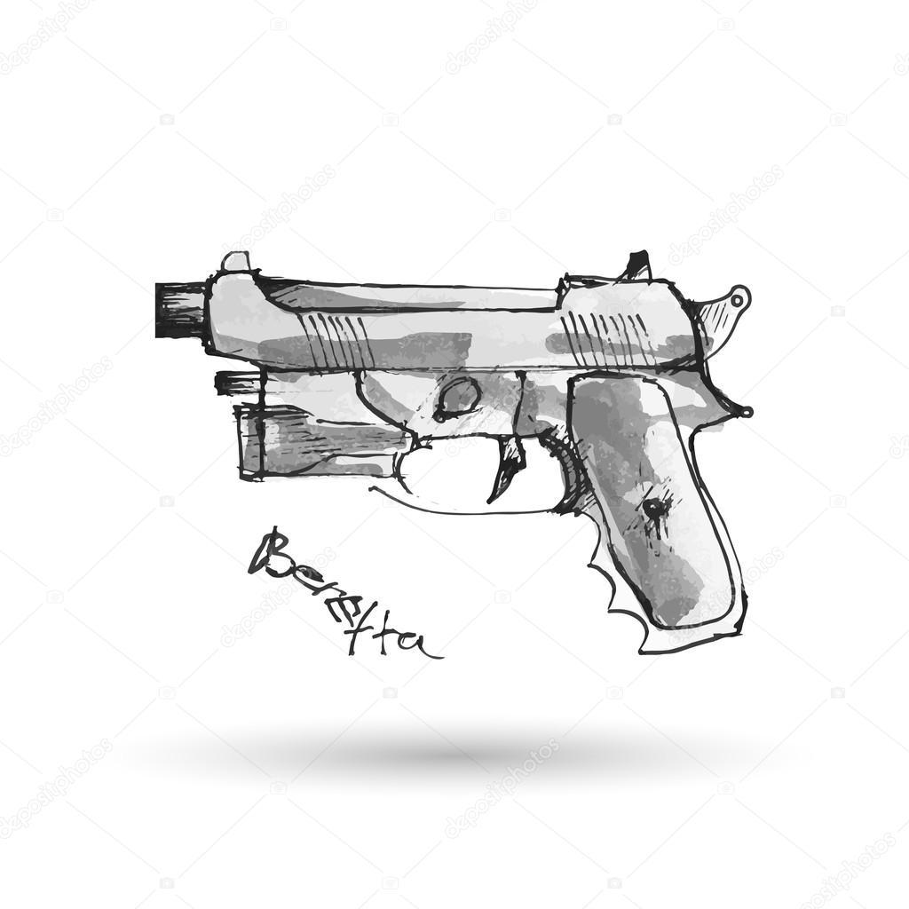 Dibujos Armas Ak 47 A Lapiz Pistola Dibujada Mano Vector De