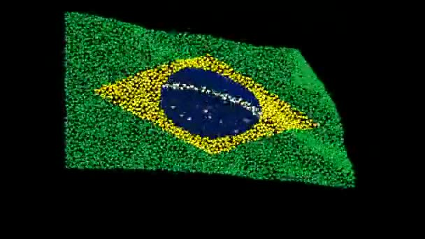 Flag of Brazil, consisting of many hearts fluttering in the wind, on a black background. Different phases of the movement of the flag in the wind. Rio 2016. Olympic games.