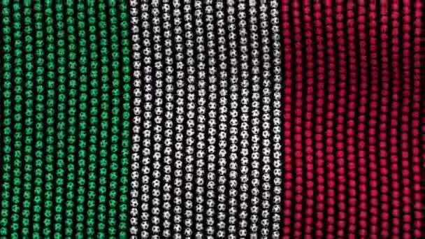 Flag of Italy, consisting of many balls fluttering in the wind, on a black background.