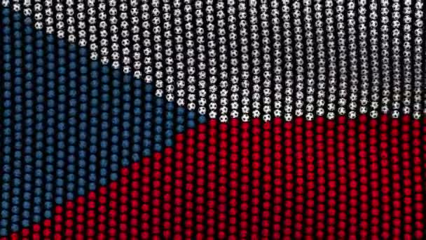 Flag of Czech Republic, consisting of many balls fluttering in the wind, on a black background.
