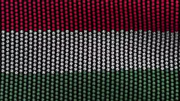 Flag of Hungary, consisting of many balls fluttering in the wind, on a black background.