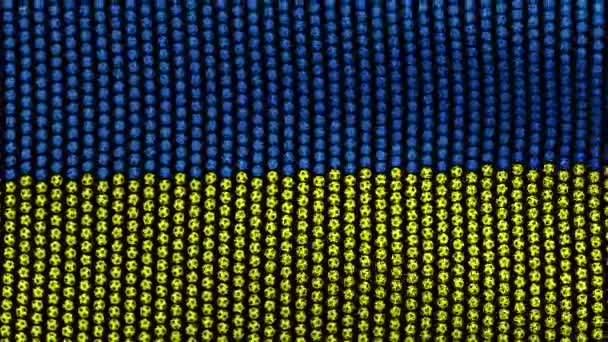 Flag of Ukraine, consisting of many balls fluttering in the wind, on a black background.