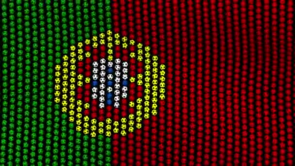 Flag of Portugal, consisting of many balls fluttering in the wind, on a black screen.