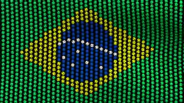 Flag of Brazil, consisting of many soccer balls fluttering in the wind, on a black screen.
