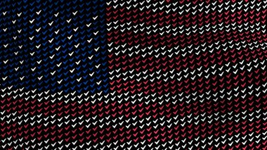 American flag is waving in the wind, consisting of choice's symbols, on a black background.