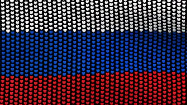 Russia flag is waving in the wind, consisting of hearts, on a black background. Seamless looping video.