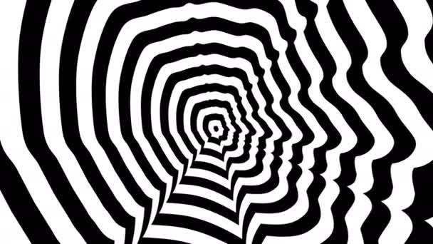 Concentric oncoming abstract symbol, Mark Zuckerberg right profile - optical, visual illusion.