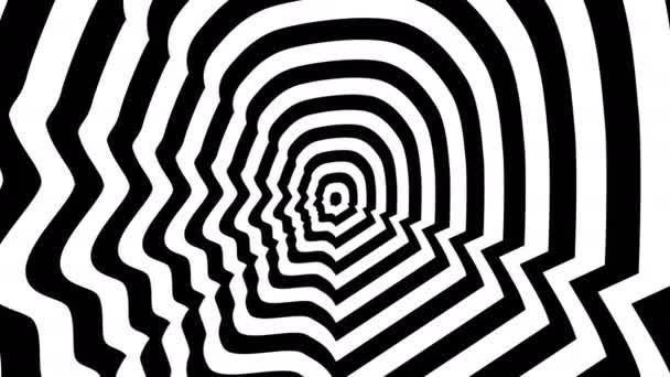 konzentrische entgegenkommende abstrakte Symbole, Menschenprofil - optische, visuelle Täuschung