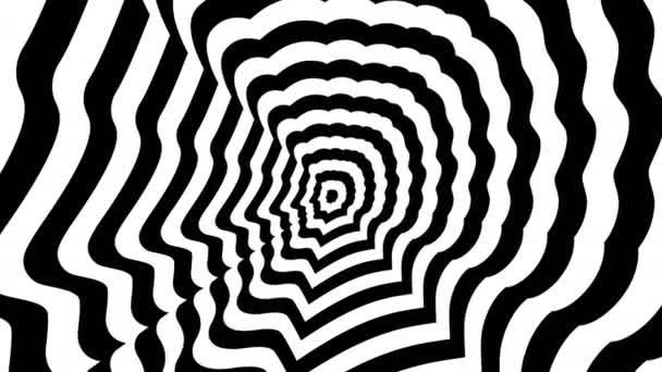 Konzentrische entgegenkommenden abstrakten Symbol, Mann Profile - optische, visuelle illusion