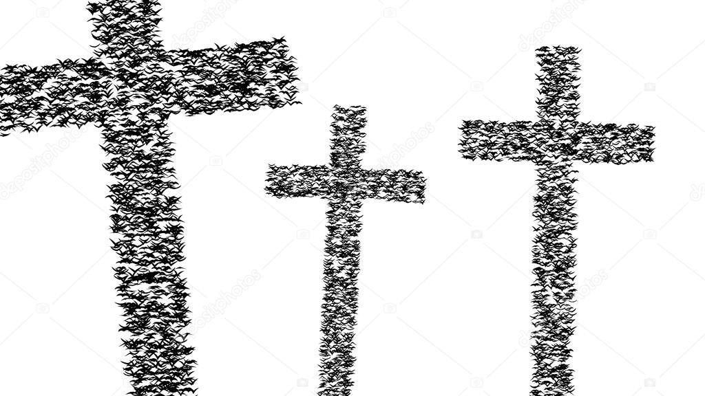 A duple flock of flying birds forms the grave crosses - part of timelapse, stop motion, gif animation