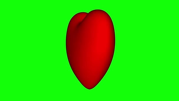 Valentines day background. Rotating red heart on a green screen