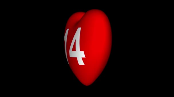Valentines day background. Rotating red heart with the number 14 on a black background.