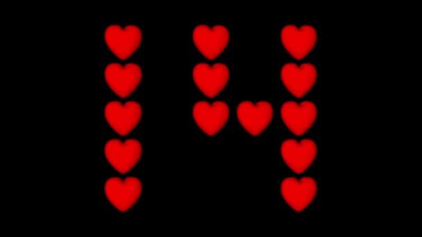 Valentin-nap háttér. 14 forgó piros szív forma a száma 14 alfa csatornát fekete háttéren.