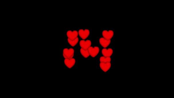 14 červené srdce v podobě zase číslo 14 a siluetu srdce do centra na černém pozadí