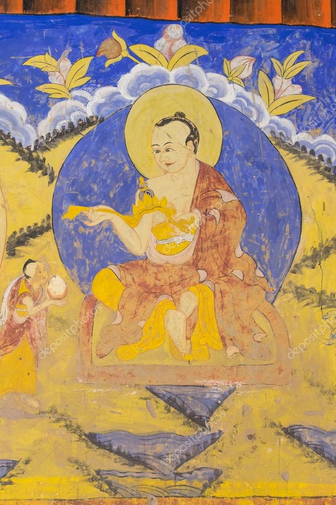 Tibetan wall painting style at Thiksey monastery — Stock Photo ...