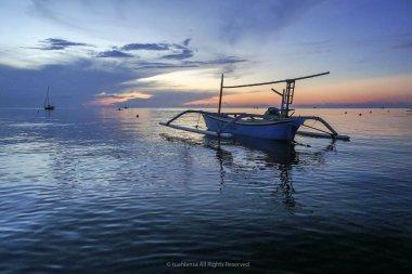 Sunrise seascape at Pandak Beach, Terengganu. Soft focus due to long exposure shot. Nature composition and low light