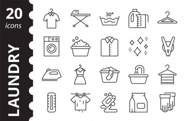 Laundry linear icons set. Concept of laundry service. Washing symbol collection. Simple vector signs. icon