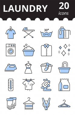 Laundry linear icons set. Concept of laundry service. Washing symbol collection in color. icon