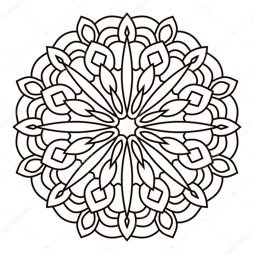 Symmetriska cirkul ra m nster mandala stock vektor - Grand mandala ...
