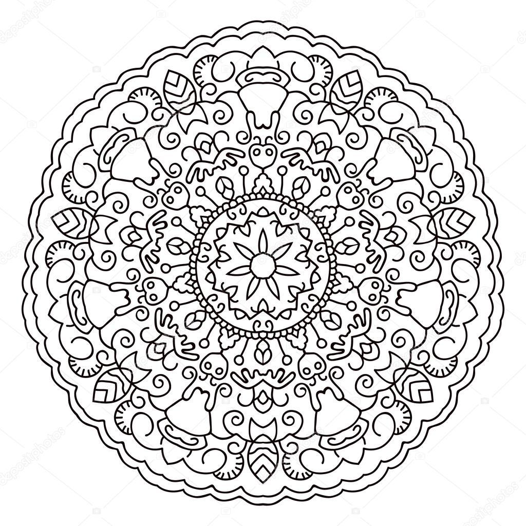 Mandala ethnique orientale. Modèle symétrique rond — Image ...