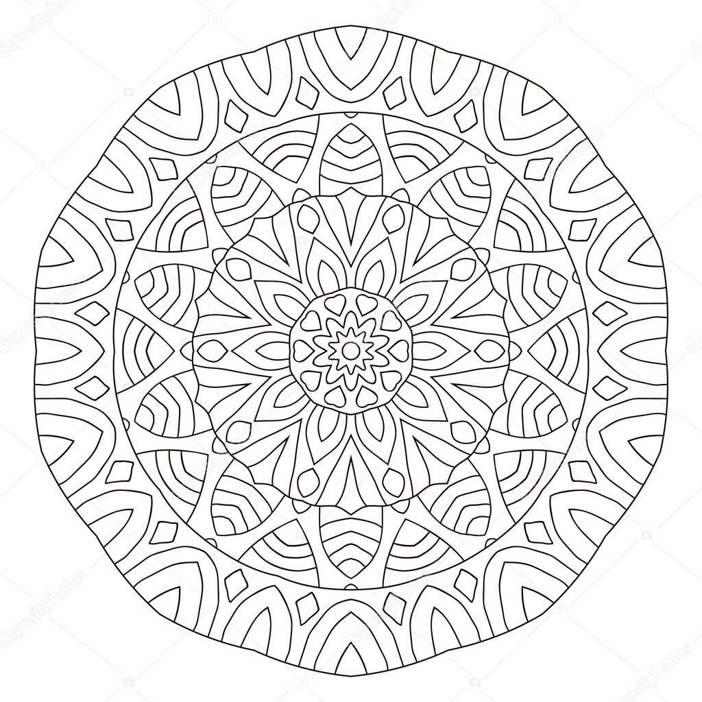 Simetrik Dairesel Desen Mandala Anahat Beyaz Bir Arka Plan üzerinde
