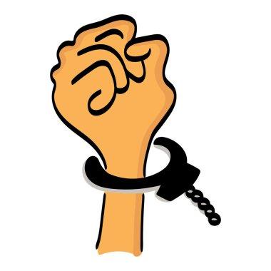 One cartoon hand man in handcuffs