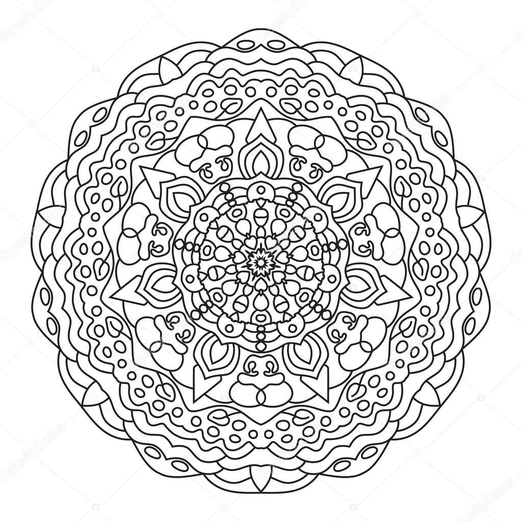 Dairesel Simetrik Etnik Desen Mandala Boyama Stok Vektör