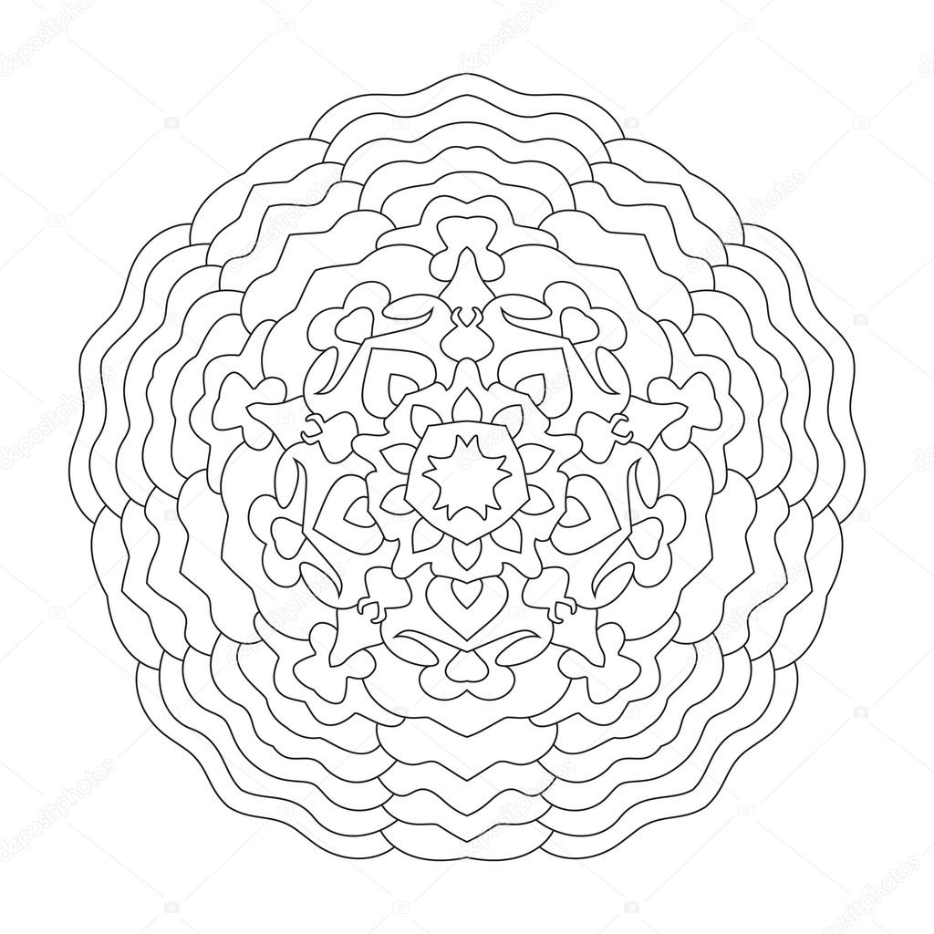 Yuvarlak Mandala Boyama Etnik Simetrik Desen Stok Vektör