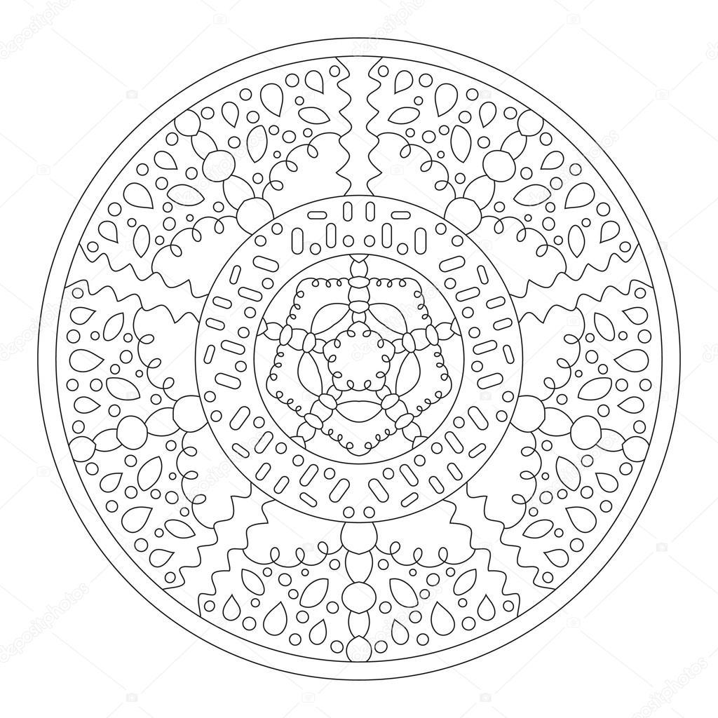 Rond mandala à colorier. Ethnique modèle symétrique pour la ...