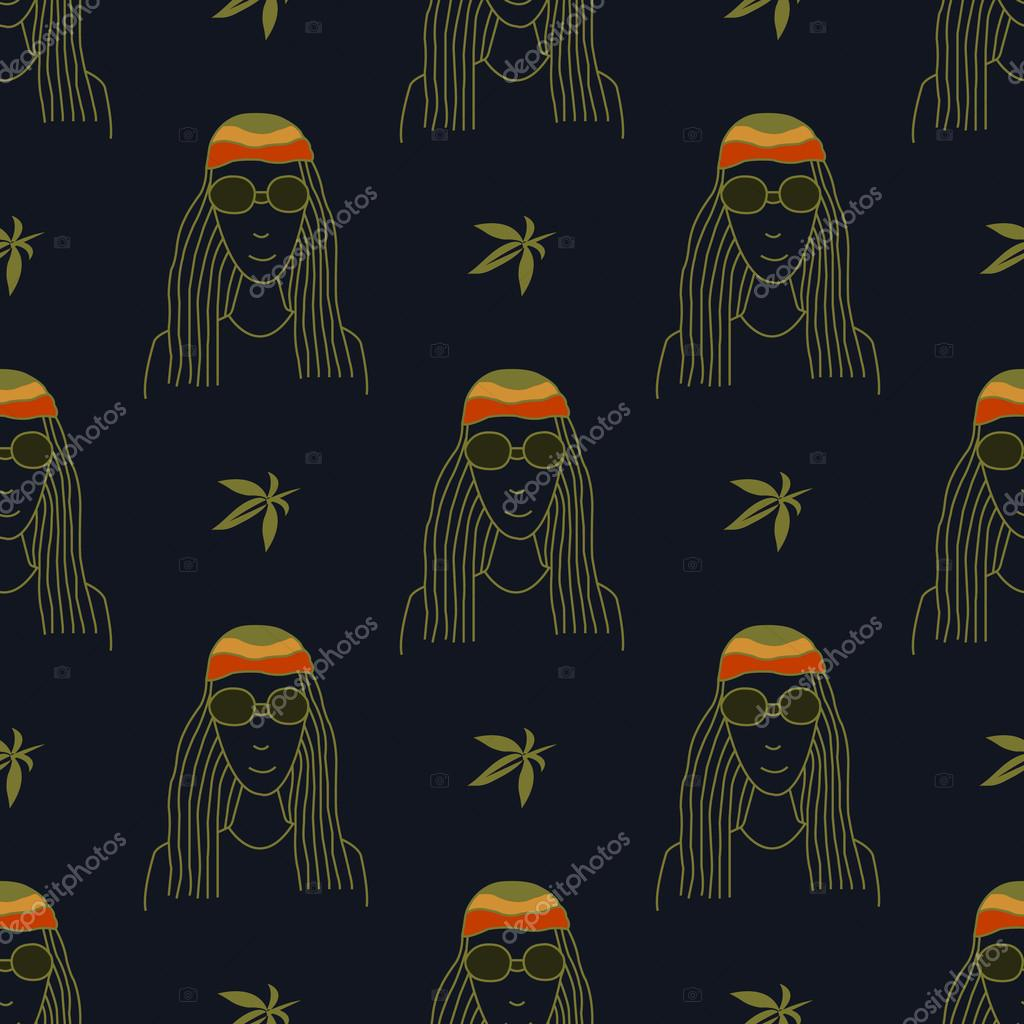 Seamless pattern with figures in the style of reggae