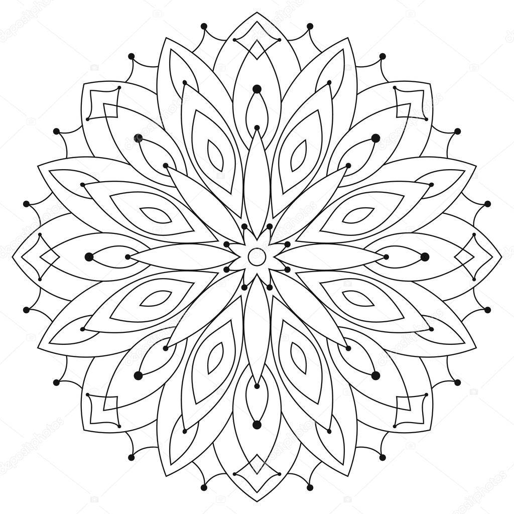 East Ethnic Round Mandala Coloring For Adults Stock Vector
