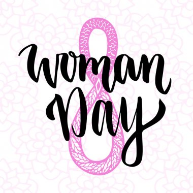 Woman Day hand drawn lettering.